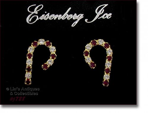 EISENBERG ICE CANDY CANE SHAPED RHINESTONE PIERCED EARRINGS