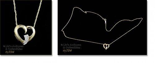 10kt Yellow Gold Heart Pendant Single Diamond