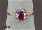 10KT YELLOW GOLD RUBY AND DIAMOND RING SIZE 7
