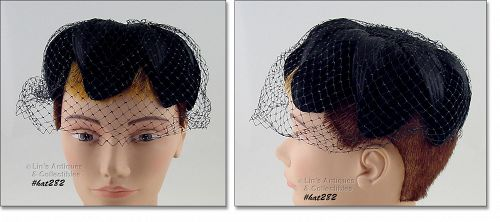 VINTAGE BLACK PETAL HAT WITH BLACK NETTING VEIL
