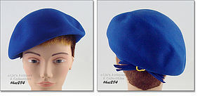 BLUE BERET STYLE HAT BY IRENE OF NEW YORK AND MARSHALL FIELD