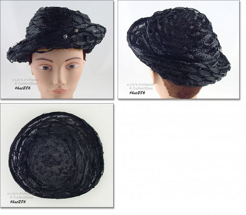 VINTAGE BLACK HAT BY DAMOZEL NEW YORK