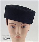 VINTAGE BLACK PILL BOX HAT MADE IN ITALY