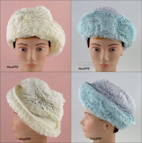 TWO VINTAGE LACE COVERED HATS BY MARSHALL FIELD