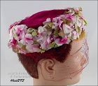 VINTAGE LE�CHAPOU RED HAT WITH FLOWERS