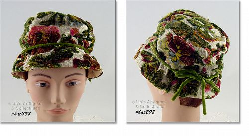 RAISED DESIGN (LIKE UPHOLSTERY MATERIAL) VINTAGE WEEK-END HAT
