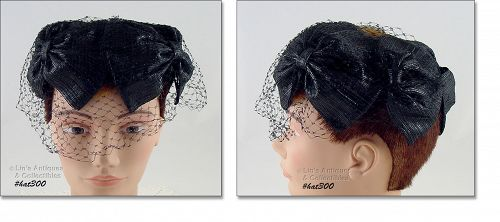 VINTAGE BLACK HAT WITH BLACK NETTING VEIL