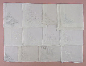 Lot of One Dozen Gorgeous White / Wedding Handkerchiefs Hankies
