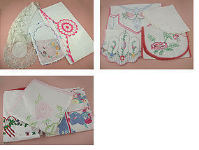 Lot of Assorted Vintage Linens for Re-Purposing (Lot #01)