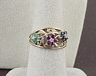 10kt Yellow Gold Ruby, Sapphire, Emerald, and Diamond Ring Size 7