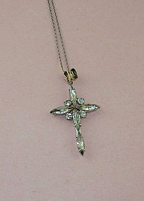 Vintage Clear Rhinestone Cross Pendant Costume Jewelry