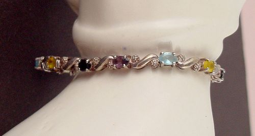 MULTI COLOR GEMSTONES AND DIAMOND ACCENTS 925 SILVER BRACELET