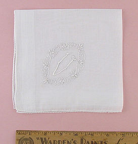 "Vintage White Madiera Monogram ""V"" Handkerchief"
