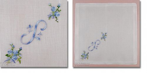 "Vintage ""S"" Variegated Blue with Blue Flowers Monogram Handkerchief"