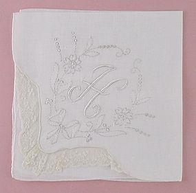 Beautiful Vintage White Monogram H Madeira White Handkerchief Hanky