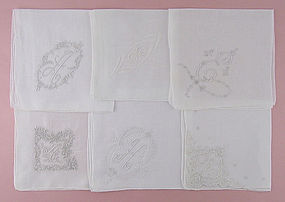 Choice of Vintage Madeira Monogram Handkerchiefs Hankies