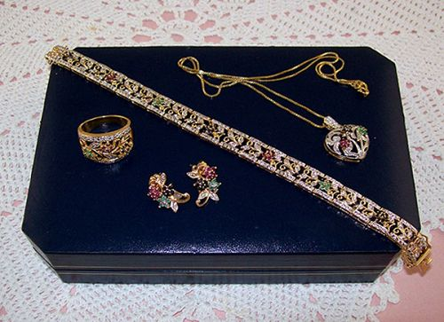 18kt Yellow Gold Over Silver Ruby, Sapphire, Emerald, and Diamond Set