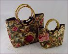 Set of Two (2) Sisters by Longaberger Majolica Garden Purses Handbags
