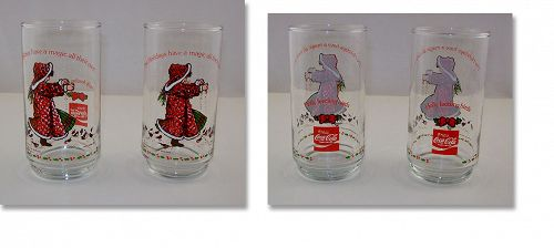 Two Limited Edition Holly Hobbie Holly Feeding Birds 1981 Glasses