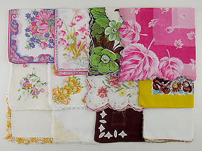 One Dozen Vintage Not Perfect Hankies for Re-Purposing or Crafts