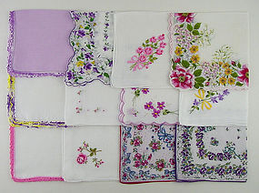 Lot of One Dozen Assorted Vintage Hankies Handkerchiefs