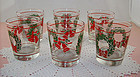 Set of 6 Vintage Christmas Holiday Glasses