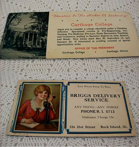 Two Advertising Ink Blotters Carthage College and Briggs Delivery