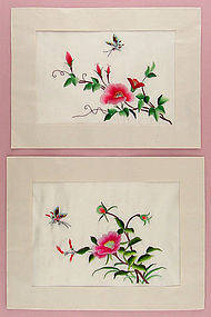 Two Silk Embroidery Pieces to Frame or Re-Purpose