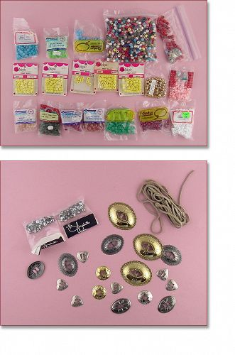 Large Assortment of Craft Items Beads, Leather, Some Tandy