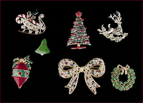 Lot of 7 Beautiful Christmas Pins