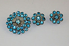 Gorgeous Vintage Pin and Matching Earrings with Blue Color Rhinestones