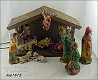 HAND PAINTED NATIVITY SET WITH WOODEN STABLE