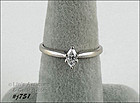10K WHITE GOLD 1/5 CT MARQUISE DIAMOND SOLITAIRE RING SIZE 7