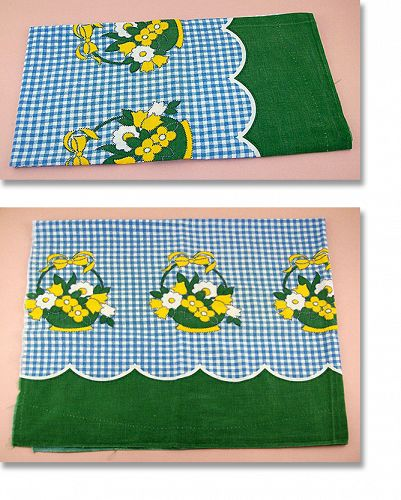 BLUE GINGHAM WITH FLOWER BASKETS FEED SACK FEEDSACK