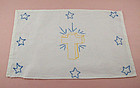 VINTAGE FREE HAND EMBROIDERED CROSS AND STARS TO DISPLAY OR FRAME