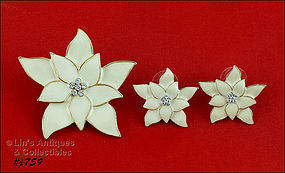 EISENBERG ICE POINSETTIA PIN AND PIERCED EARRINGS