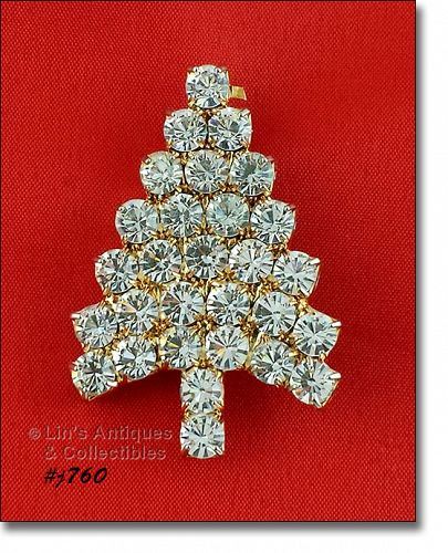 EISENBERG ICE PRONG SET CLEAR RHINESTONES CHRISTMAS TREE PIN