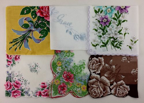 LOT OF 6 LARGER SIZE VINTAGE HANKIES HANDKERCHIEFS