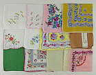 One Dozen Vintage Not Perfect Assorted Hankies for Re-Purposing