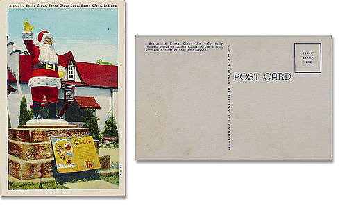 SANTA STATUE AT SANTA CLAUS LAND, SANTA CLAUS, INDIANA POST CARD