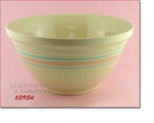 McCOY POTTERY VINTAGE STONECRAFT PINK AND BLUE LARGE 14� BOWL