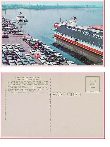 OHIO RIVER WHARF SCENE IN LOUISVILLE, KENTUCKY POSTCARD