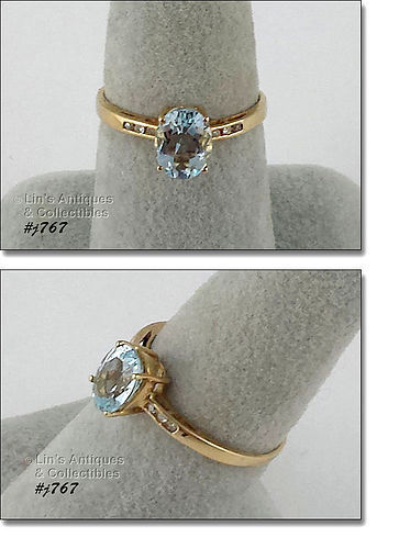 10K YELLOW GOLD AQUAMARINE AND DIAMOND ACCENTS RING SIZE 7