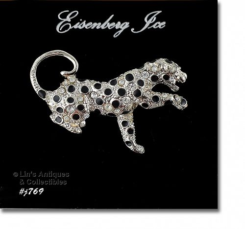 EISENBERG ICE LEOPARD PIN ON ORIGINAL EISENBERG ICE STORE HANG CARD