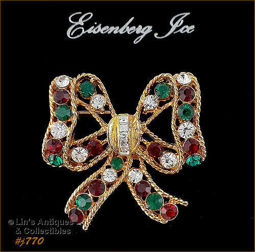 EISENBERG ICE BOW SHAPED CHRISTMAS PIN 3 AVAILABLE