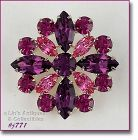 EISENBERG ICE PINK ROSE AND AMETHYST PRONG SET RHINESTONE PIN