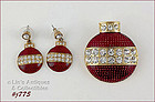 EISENBERG ICE � ORNAMENT SHAPED PIN AND PIERCED EARRINGS