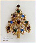 EISENBERG ICE � MULTI-COLOR RHINESTONES CHRISTMAS TREE PIN