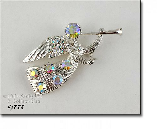 EISENBERG ICE TRUMPETING ANGEL PIN SILVER TONE WITH RHINESTONES
