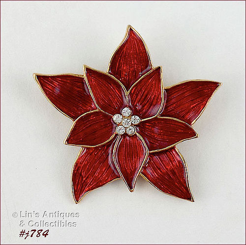 EISENBERG ICE RED POINSETTIA SHAPED PIN